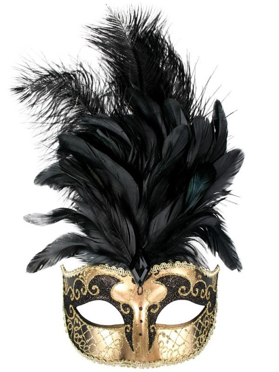 Sienna Black And Gold Eye Mask with Black Feathers