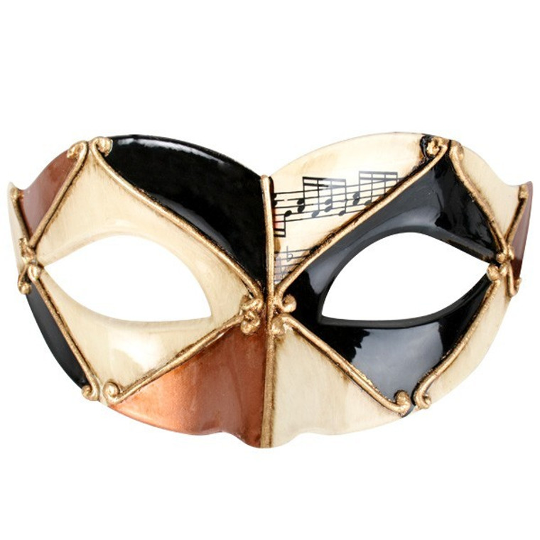 Black Creme And Gold Pietro Masquerade Eye Mask