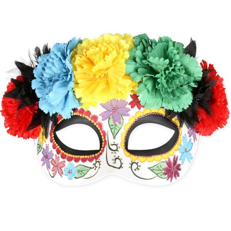 Frida Bright Flowers Masquerade Mask