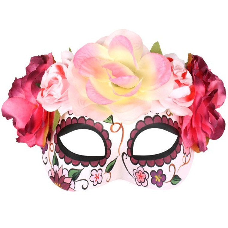Soft Pink Frida Flowers Masquerade Mask