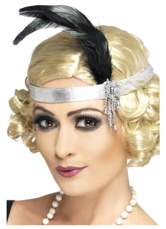 Silver Charleston Headband with Plume