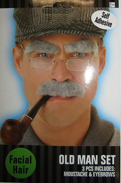Old Man Grey Eyebrows And Moustache Set