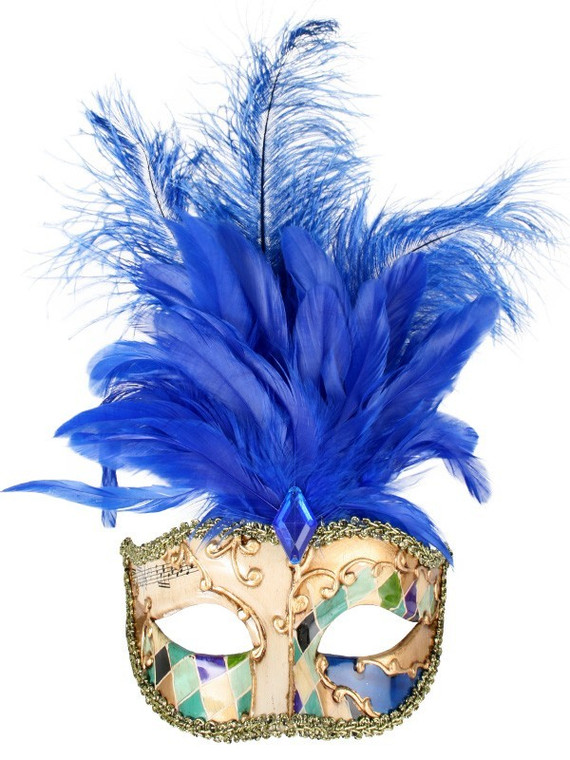 Allegra Creme Masquerade Mask With Blue Feathers