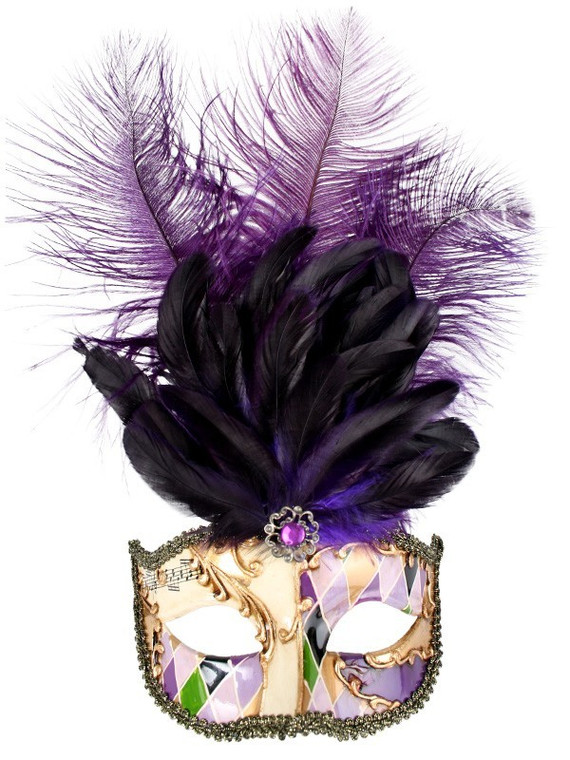 Allegra Creme Masquerade Mask With Purple Feathers