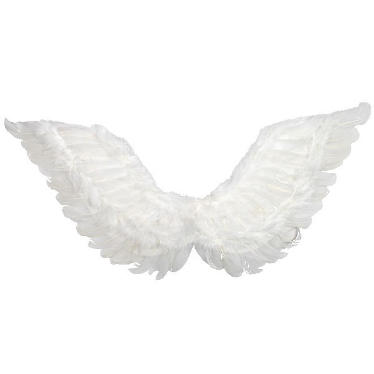 White Feathered Angel Wings Medium