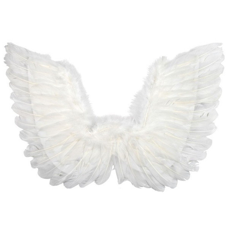 White Feathered Angel Wings Small