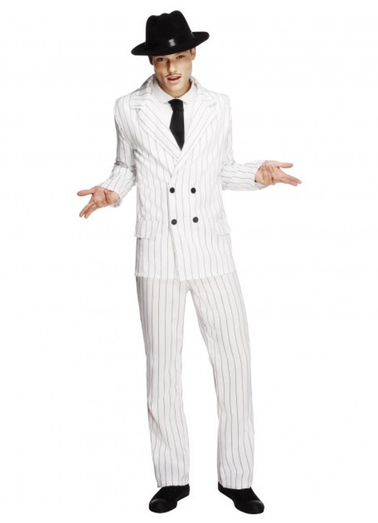 White Pinstriped Gangster Suit