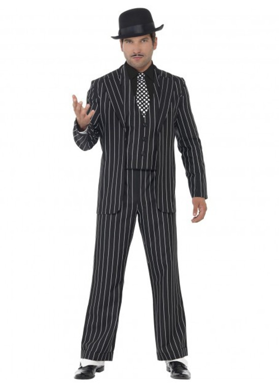 Vintage Gangster Boss Pinstriped Adult Suit