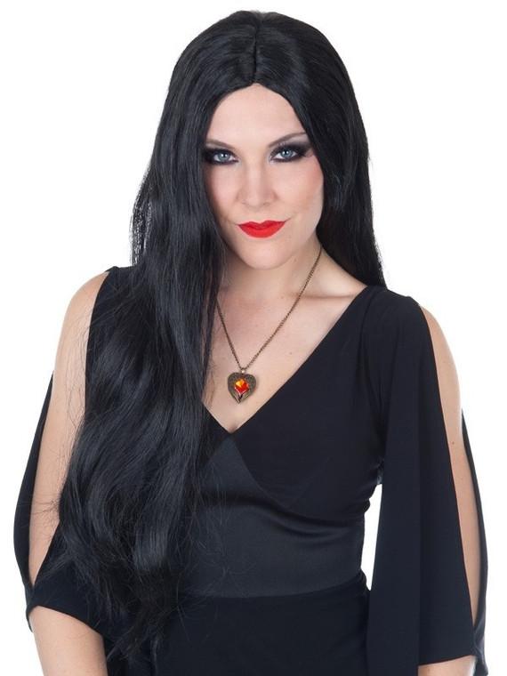 Morticia Long Black Wig No Fringe