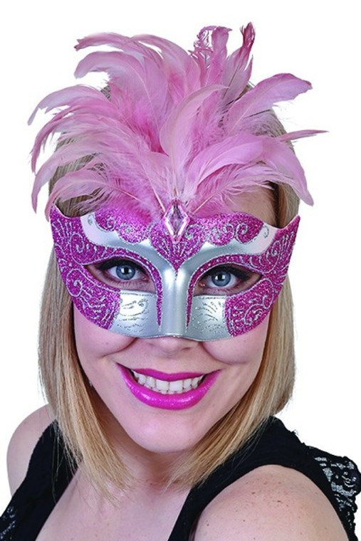 Pink Gabrielle Eye Mask with Feathers