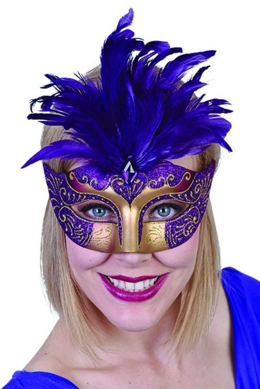 Purple Gabrielle Eye Masquerade Mask with Feathers