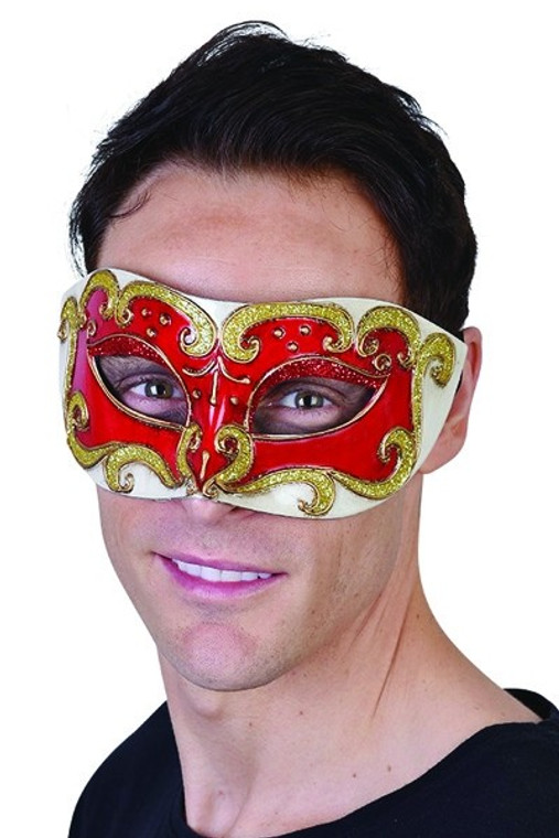 Red Eye Mask with Gold Glitter Detail