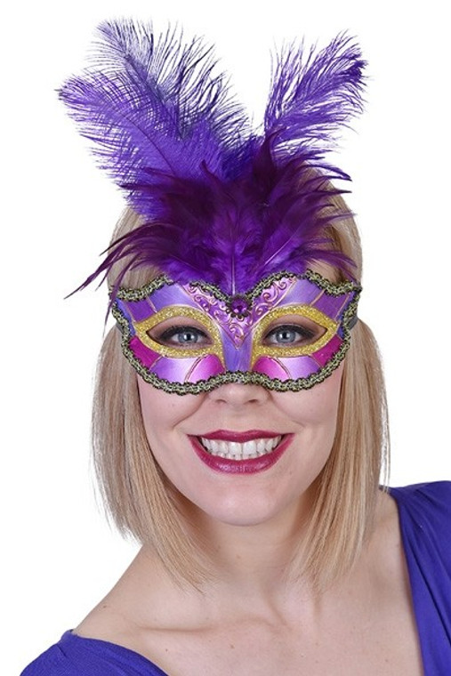 Purple and Gold Pieta Eye Mask with Feathers