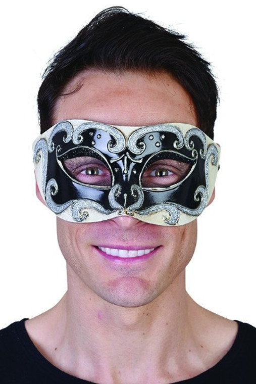 Black Eye Mask with Silver Glitter Detail