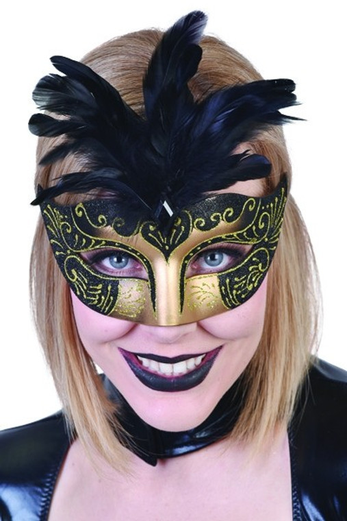 Black and Gold Gabrielle Masquerade Mask