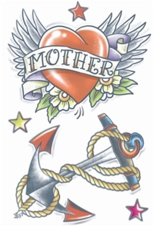 1950 Heart Anchor Temporary Tattoo