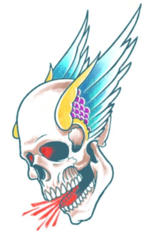 Biker Winged Skull Temporary Tattoo