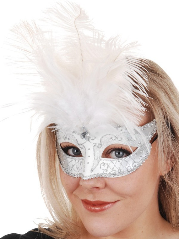 Carmela White and Silver Masquerade Mask with Feathers