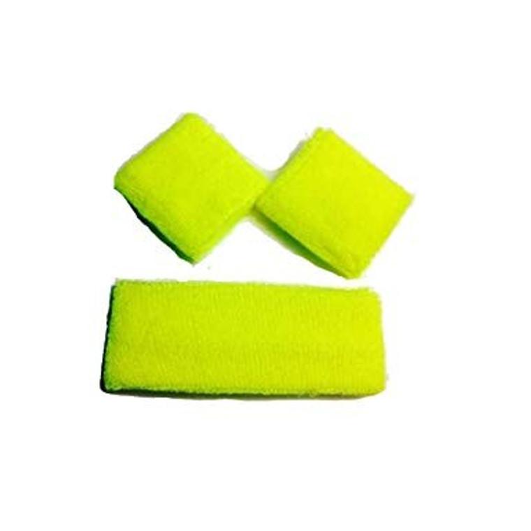 Fluro Yellow Wrist and Head Sweatbands