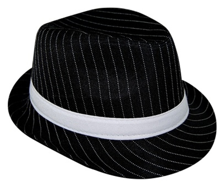 Gangster Pinstriped Trilby Hat