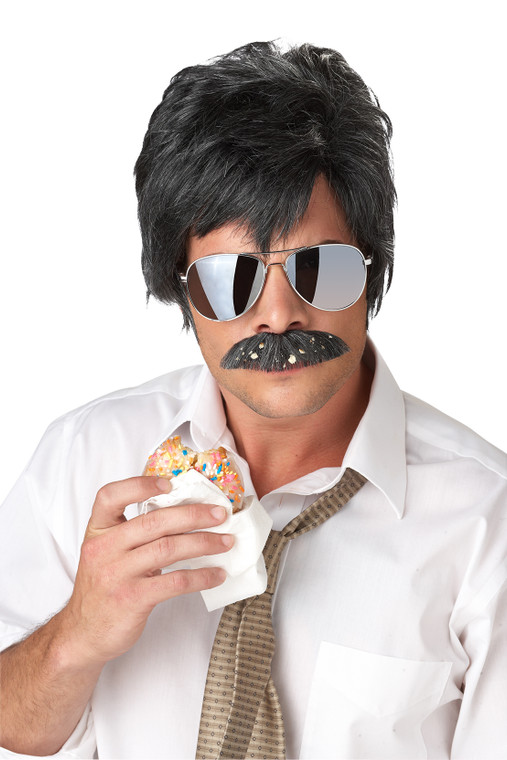 Ace Detective Black Mens Costume Moustache And Wig