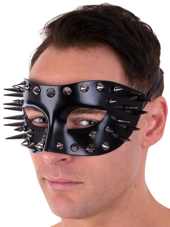 Marco Glossy Black with Spikes Eye Mask