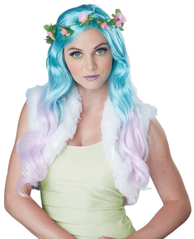 Floral Fantasy Blue Pink Wig