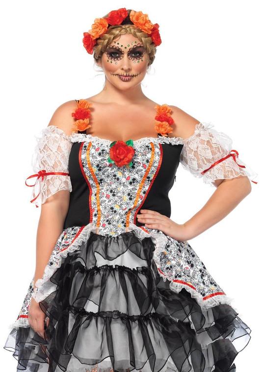 Sugar Skull Senorita Ladies Costume - Plus