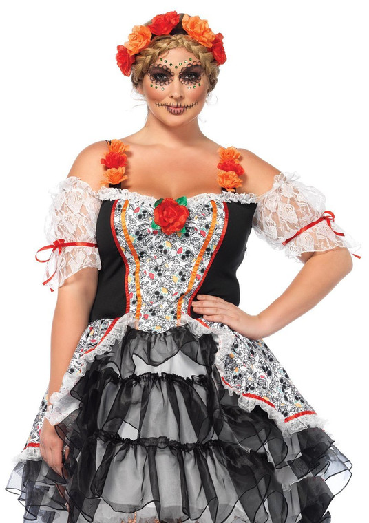 Sugar Skull Senorita Ladies Costume - Plus