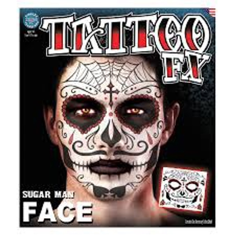 Sugar Skull Man Temporary Face Tattoo