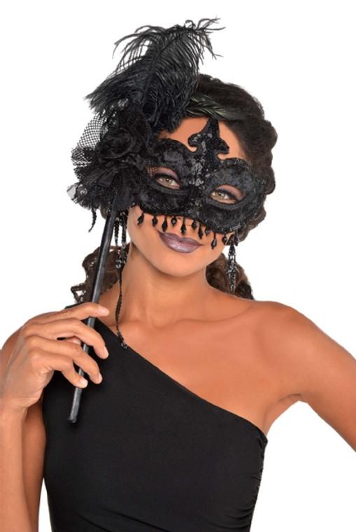 Black Magic Feathered Masquerade Mask