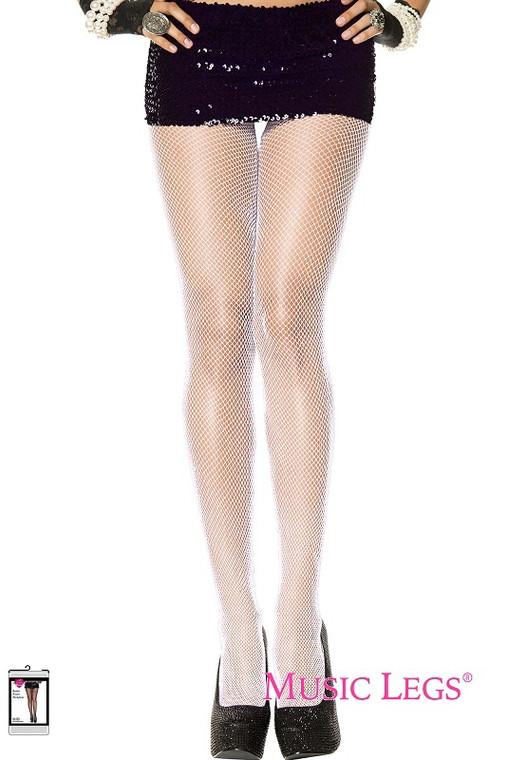 Silver Glittery White Fishnet Stockings