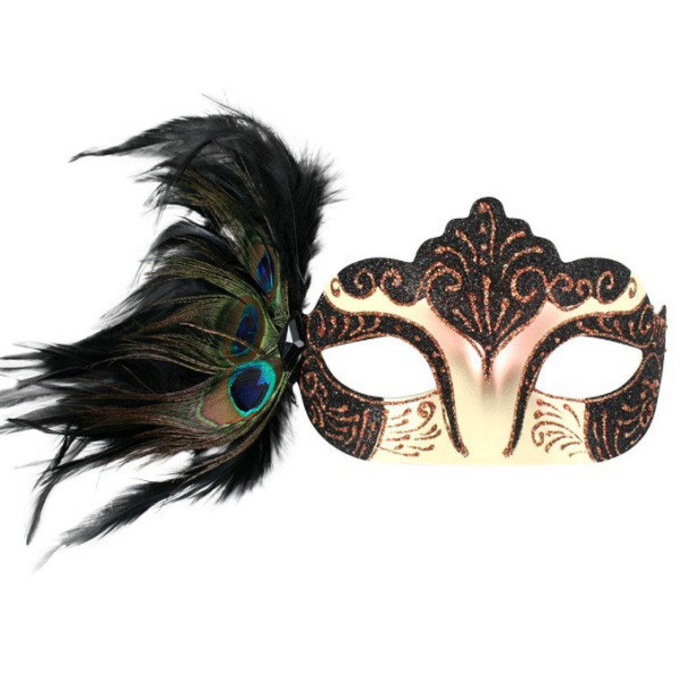 Burlesque Black Masquerade Mask w/ Peacock Feathers