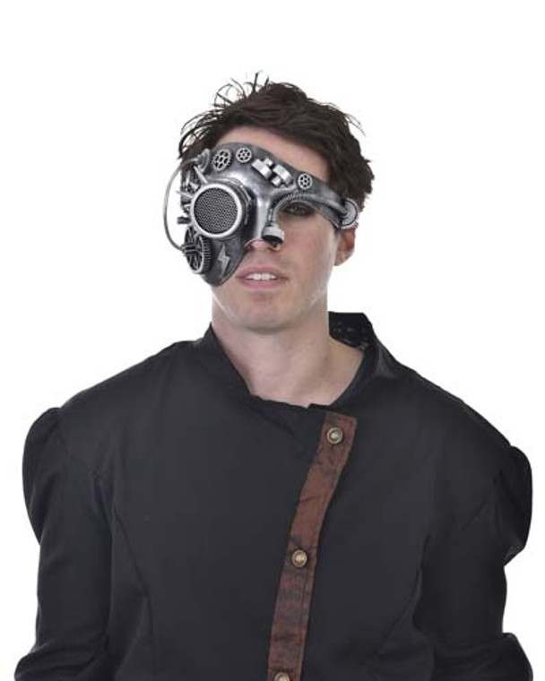 Silver Cyborg Steampunk Half Mask