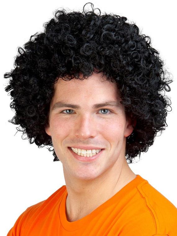 Black disco afro costume wig