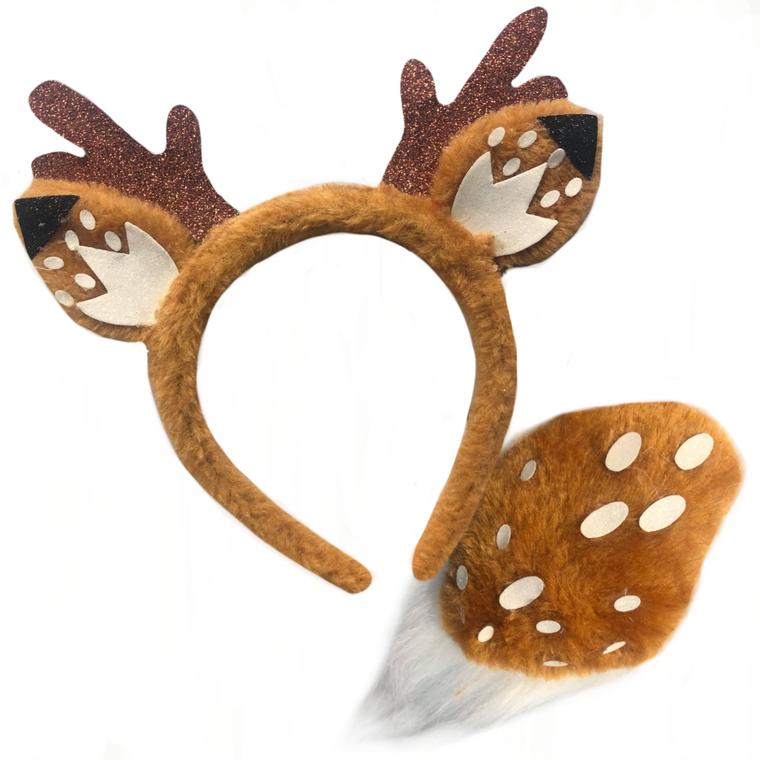Reindeer Animal Ears Headband And Tail