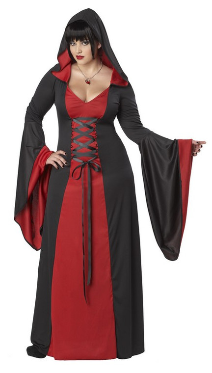 Deluxe Hooded Robe/Dress Red and Black Costume - Plus Size