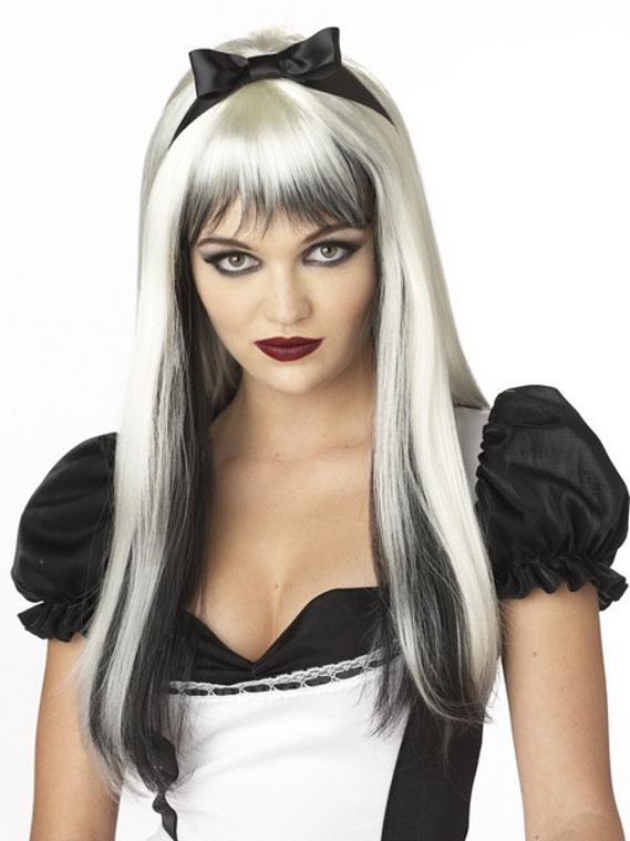 Enchanted Tresses Black and White Wig with Ribbon