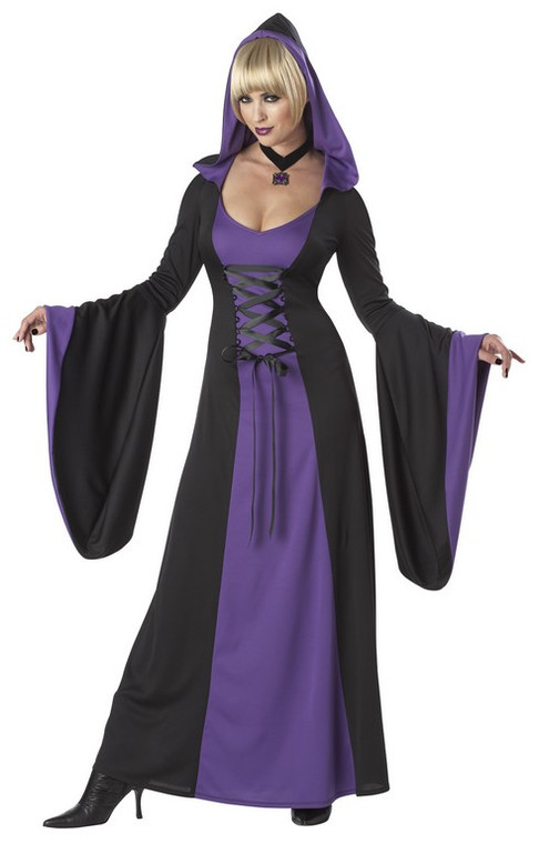 Deluxe Hooded Robe/Dress Purple and Black Costume