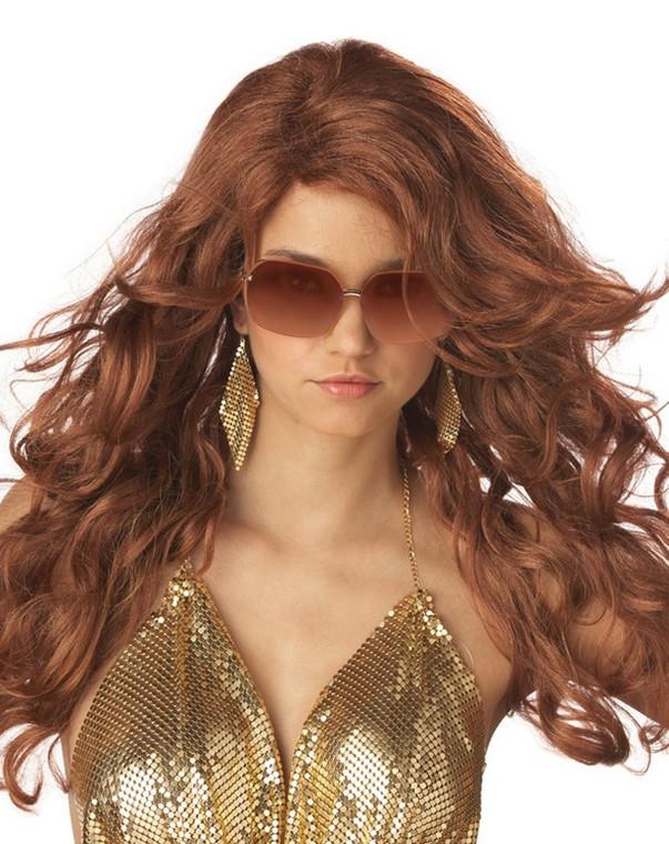 Sexy Super Model Auburn Costume Wig
