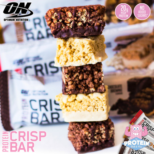 Crispy, drizzled & delicious...Optimum Nutrition Protein Crisp Bars land in our lunchbox!