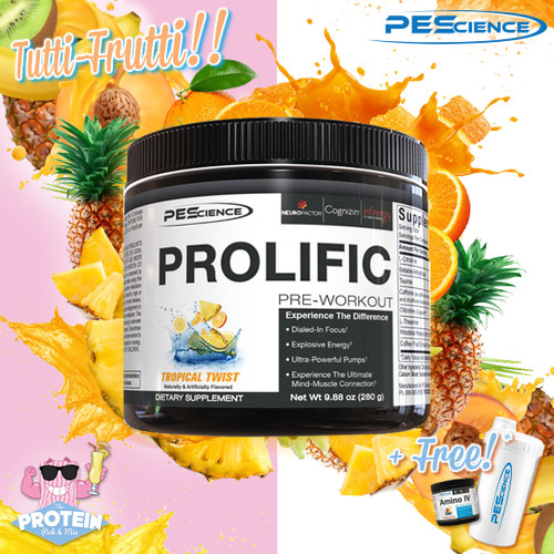 PEScience's Focus-focused Prolific Pre-Workout gets a juicy Tropical Twist!