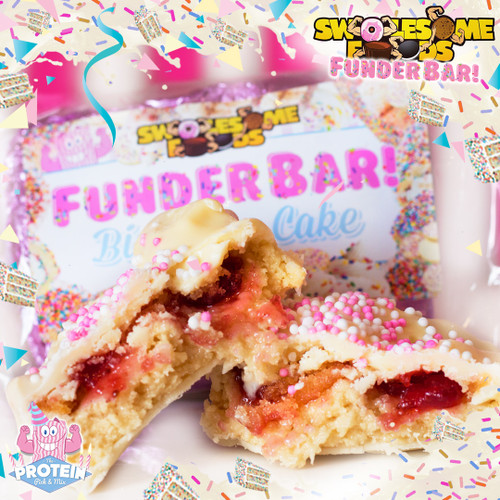 Wait...a CAKE-STUFFED Birthday Cake bar? Is that a thing?! It is now! Thanks, Swolesome!