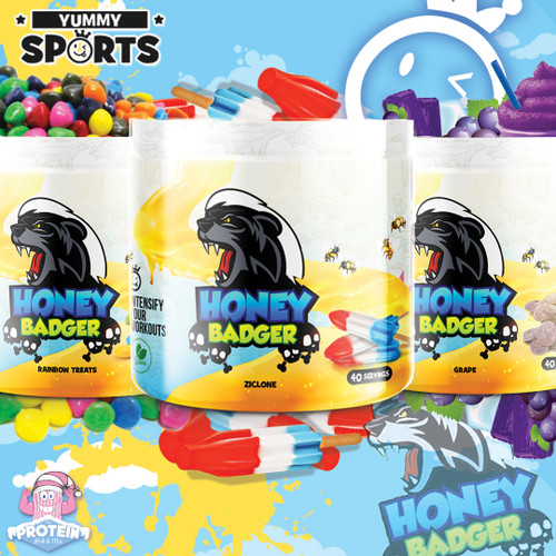 The Honey Badger don't give a sh*t about nothing...except a bad workout! Enter Yummy Sports' new Pre...