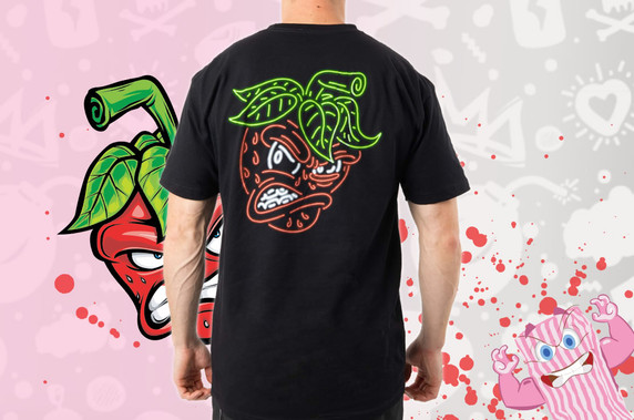 Actual Candy Sour Strips Neon Tee - Strawberry (Back)