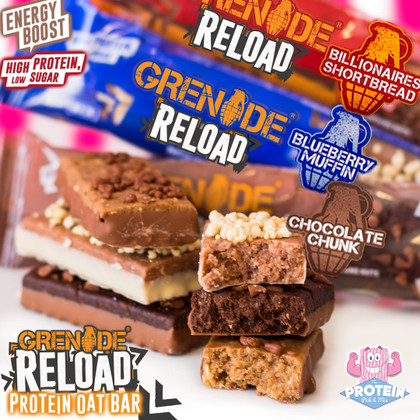 Grenade's RELOADs get...RELOADED! Flapjacks get an overhaul in Grenade's fudgy Protein Oat Bars