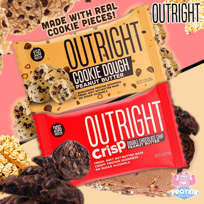 Cookie Dough and new style Double Choc PB CRISP join the real-food OUTRIGHT bar line-up!