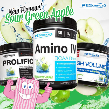 #1 Requested flavour for Prolific, High Volume and Amino IV... Sour Green Apple Joins the PEScience family!