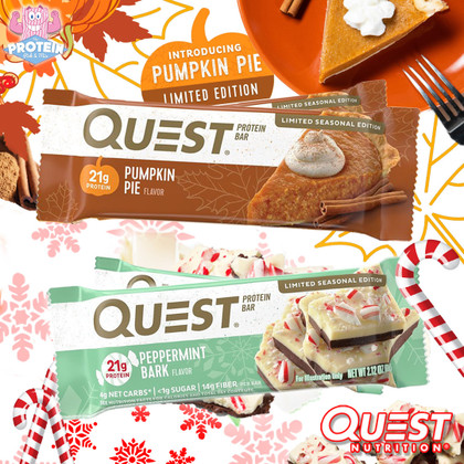Quest's seasonal snacks are back for another year...don't miss Pumpkin Pie and Peppermint Bark!