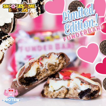 True love comes coated in CHOC and crammed with COOKIES! Valentine's FunderBars in the Mix!